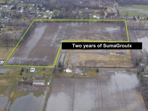 The farm that used SumaGroulx has been outlined in yellow. It has better water infiltration.